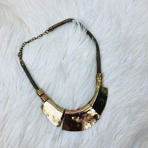 Statement necklace bronze gold tone